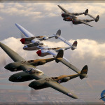 P-38 Lightning Formation - Air to Air - Planes of Fame 2013