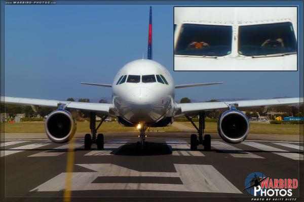 Delta Airbus Pilots take photos of the SNJ Texan